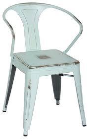 Galvanized Bistro Chair Retro Cafe Bastille Style Arm Chair Blue Galvanized Steel
