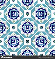 Spanish Floor Tile Pattern Vector With Diagonal Ornaments Portuguese Azulejo