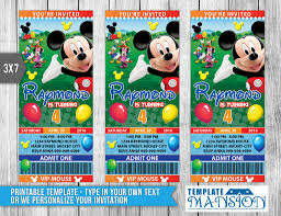 Mickey Mouse Invitation Cards Printable Mickey Mouse Ticket Invitation Invitation Psd By Templatemansion