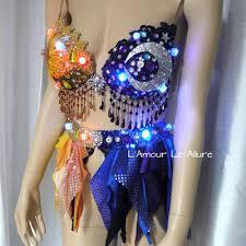 Moon Goddess Fairy Monokini Bra Cosplay Dance Costume Rave Bra by Galaxy Moon Plunge Rave Bra Dance Halloween Costume Gypsy L