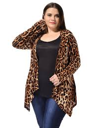 Plus Size Womens Clothing Stores Agnes Orinda Ladies Plus Size Leopard Prints Open Front Fashion