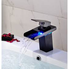 led waterfall deck mount bathroom sink faucet rubbed bronze