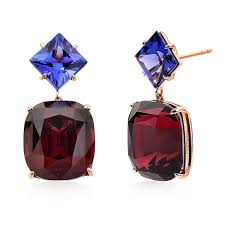 tanzanite earrings 18kt gold rhodolite garnet and tanzanite earrings paolo