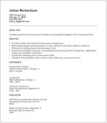 construction foreman resume sample construction manager resume