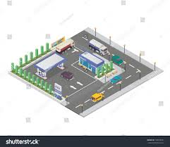 Gas Station Floor Plans Isolated Isometric Gas Station Illustration Suitable Stock Vector