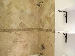 travertine tile bathtub surround idea brushed nickel fixtures
