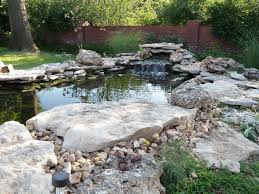Backyard Wall Freshen Bakyard Small Fish Pond Ideas With Stone Waterfall Also
