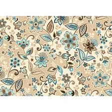 Blue Home Decor Fabric Kentshire Cotton Fabric Jacobean Blue Brown Crafts Walmart Com