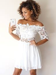 white dress buy a line the shoulder half sleeves white homecoming dress
