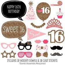 photo booth props sweet 16 birthday photo booth props kit 20 count walmart