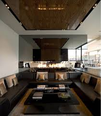Living Rooms With Dark Brown Leather Furniture Modern U Shaped Dark Brown Leather Sofa With Square Black Wooden