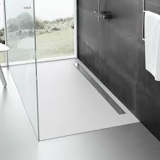 fiora elax total white slate low profile linear shower tray