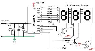 30v volt meter with pic16f676 circuit diagram