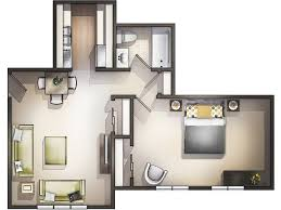 bedroom 35 one bedroom apartment 3d floor plan with small