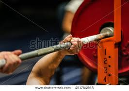 Power Lifting Bench Press Man Powerlifter Competition Powerlifting Bench Press Stock Photo