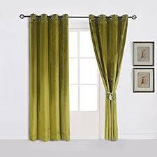 Green Grommet Curtains Amazon Com Super Soft Luxury Velvet Moss Green Olive Greenset Of