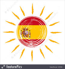 Spanish Flag Illustration Of Spanish Flag In Sun