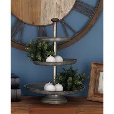 galvanized cake stand 3 tier farmhouse iron cake stand in gray 49206 the home depot