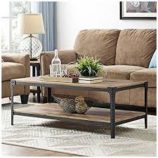 walker edison coffee table amazon com walker edison angle iron rustic wood coffee table in
