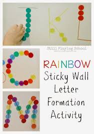 rainbow sticky wall letter formation still playing