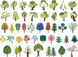 cute trees cute doodle trees tree doodles set isolated on white background