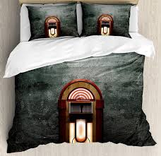 music themed queen comforter jukebox duvet cover set scary movie theme old abandoned home with