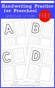 preschool handwriting practice uppercase free printables