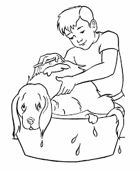 giving dog bath kids pets coloring pages