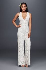 wedding dress alternatives guipure lace and crochet jumpsuit david s bridal