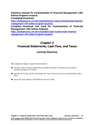 solutions manual for fundamentals of financial management 14th