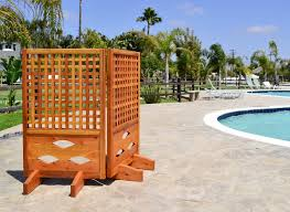 exterior privacy screen guard for deck furniture alongside