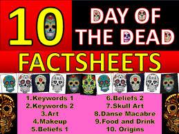 10 x day of the dead factsheets worksheet keyword starter settler