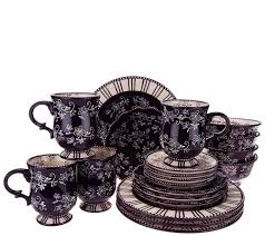 temp tations 20 piece floral lace service for 4 dinnerware set
