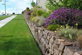 Retaining Wall Landscaping Ideas Garden Fetching Image Of Garden Decoration Using Light Grey Stone