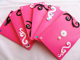 Invitation Cards Handmade - set of 6 pink stationery cards and envelopes pink cards