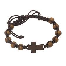 catholic communion gifts brown wood corded cross bracelet communion gift for boys