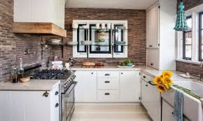 exposed brick wall ideas rustic brick backsplash kitchen sage