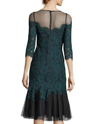 rickie freeman for teri jon elbow sleeve lace cocktail dress w