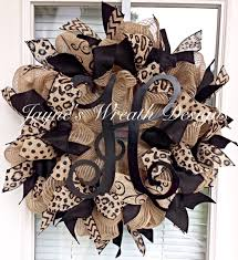 popular burlap wreath with leopard print polka dot swirly and