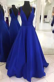 dress blue 2018 royal blue satin v neck floor length halter graduation