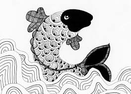 sketch of a koi fish eclectic cycle
