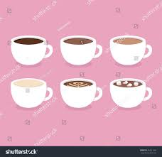 different types coffee espresso cappuccino latte stock vector