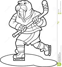 funny walrus plays hockey stock vector image 69302886