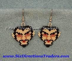 dracula vampire brick stitch delica seed beaded earrings halloween