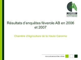 chambre d agriculture haute garonne résultats d enquêtes féverole ab en 2006 et ppt télécharger