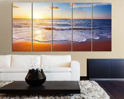 Landscape Canvas Prints by Large Wall Art Colorful Sunset And Beach Ocean Landscape Canvas