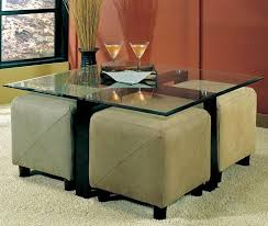 Glass Ottoman Coffee Table Captivating Coffee Table With Stools Underneath Coffee Table