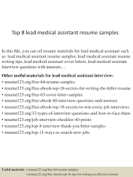 medical assistant resume cover letter top8leadmedicalassistantresumesamples 150715045218 lva1 app6892 thumbnail 4 jpg cb 1436935982
