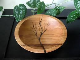 wooden bowl rising tree pyrography design modern woodburned
