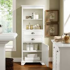 elegant white oak wood bathroom storage cabinet with shutter doors